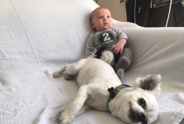 Chase with Charlie at 2 mos